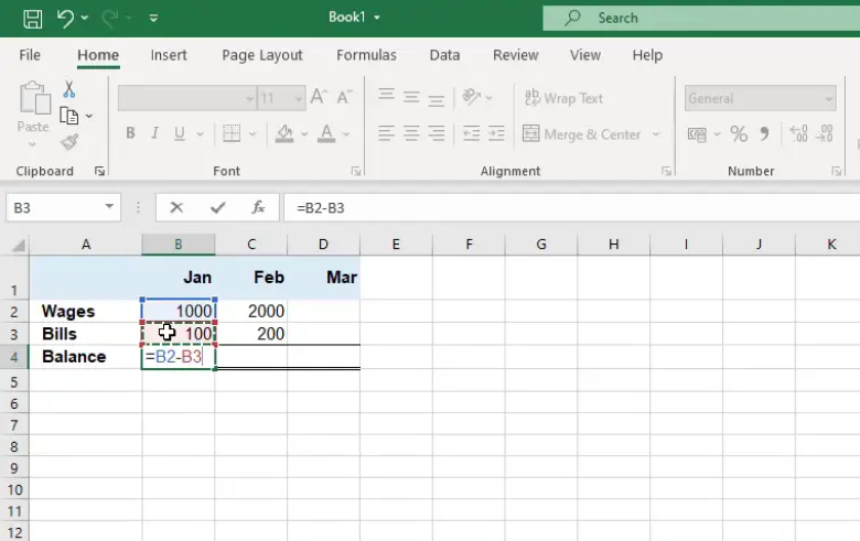 Microsoft Excel - Subtract a cell from another cell